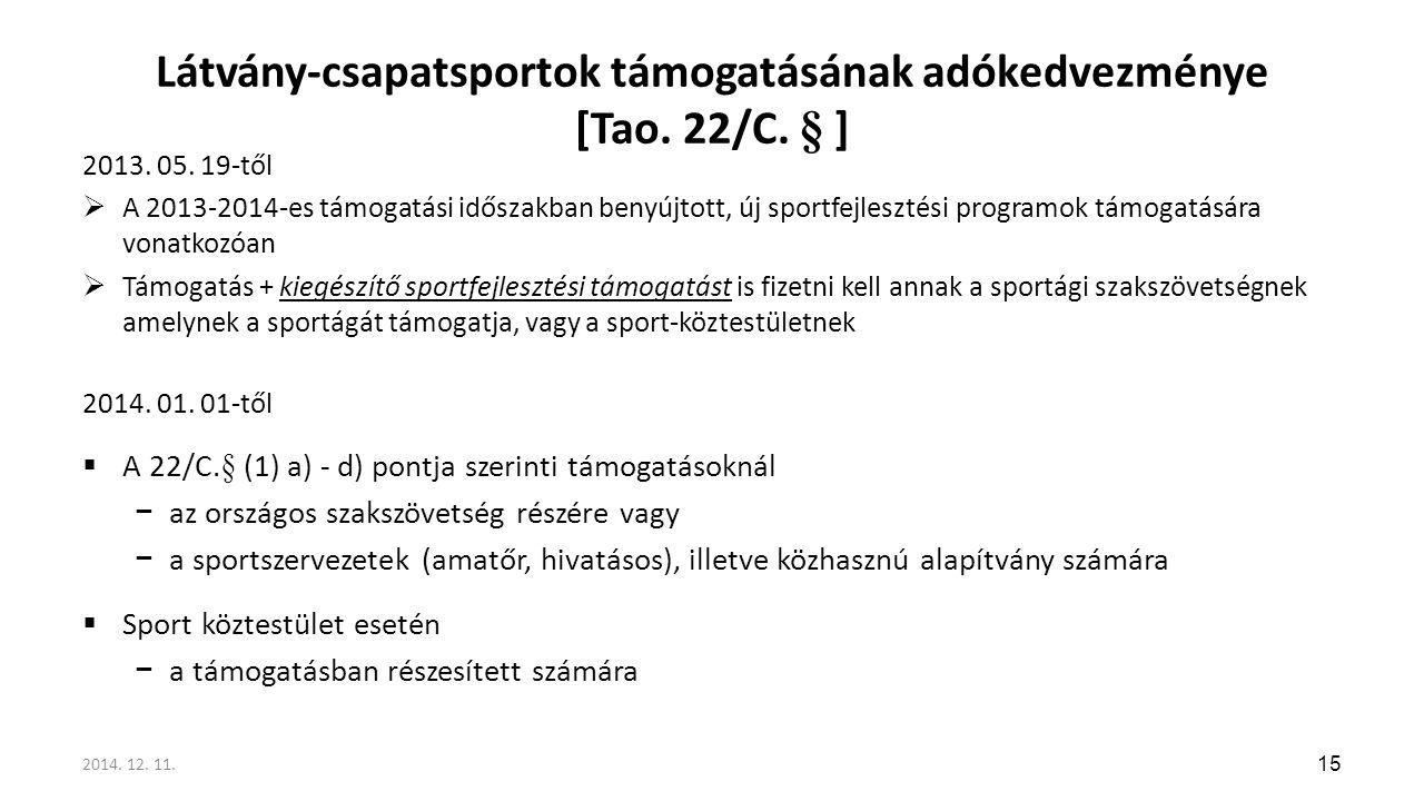 Látvány-csapatsportok támogatásának adókedvezménye [Tao. 22/C. § ]